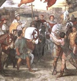 Papa Leone Magno ferma Attila (part.), Raffaello.<br>Roma, Palazzo Vaticano.