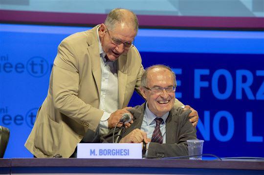 Rocco Buttiglione e Massimo Borghesi all'incontro su Bergoglio
