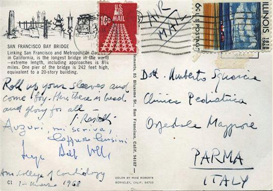 La cartolina di Rastelli dall'America a un compagno di studi