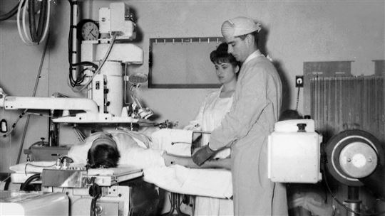 Giancarlo Rastelli all'ospedale di Parma nel 1958