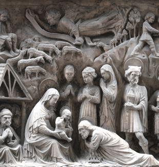 """Elia e Giovanni Gagini, """"Adorazione dei magi"""", 1457. Via degli Orefici, Genova, l'immagine del Volantone di Natale di CL"""
